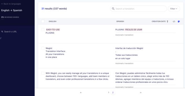 Screesnot of server-side translation in Weglot