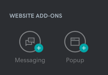 Screenshot of where to find Messaging and PopUp options under Website Add-Ons in Websites + Marketing.