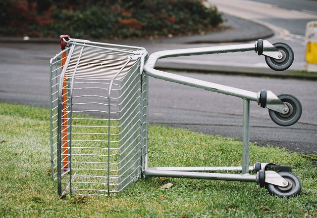 Shopping Cart Tipped Over In Grass