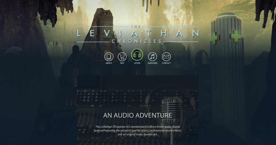 Screenshot of a podcast website with science fiction theme