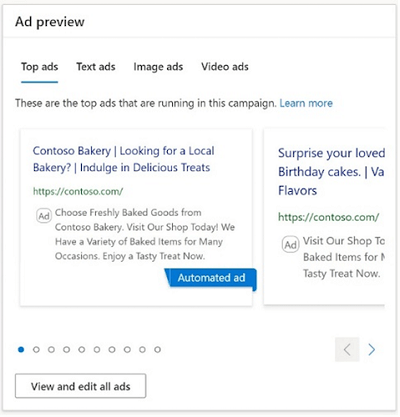 Ad preview interface for Microsoft's digital marketing center
