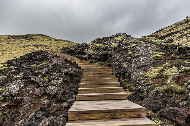 Staircase through hillside