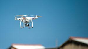 Drone flying over a neighborhood