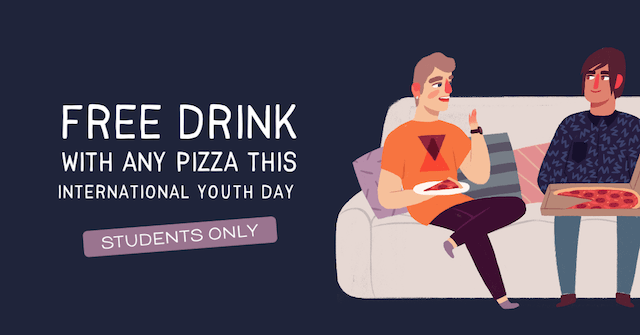 GoDaddy Studio template international youth day ad for free drink with pizza