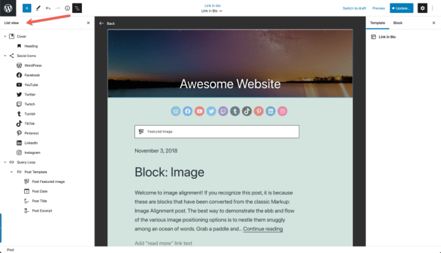 A completed WordPress Template Editor example with the List View displaying at left.