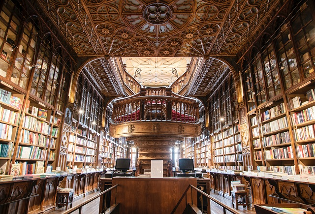 Large ornate library with shelves stretching out of frame