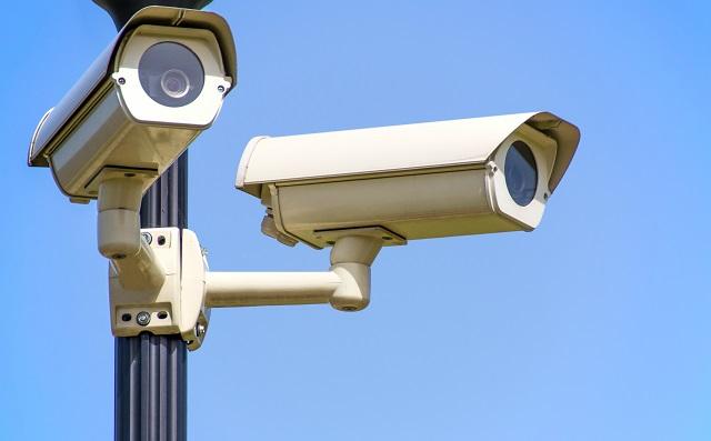 Security cameras on a light pole
