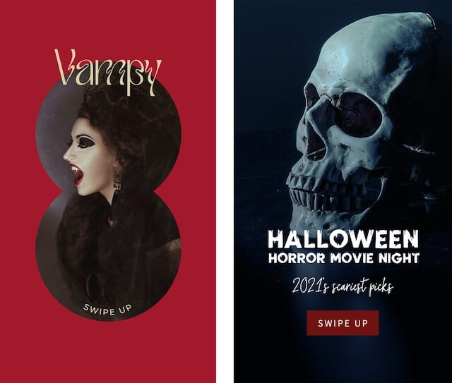 Horror themed Halloween ads with vampire and skeleton