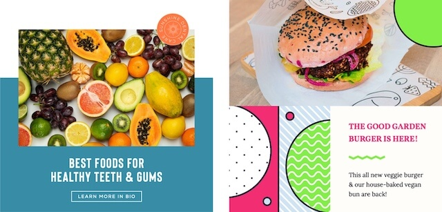 Colorful ads promoting vegetarian dishes