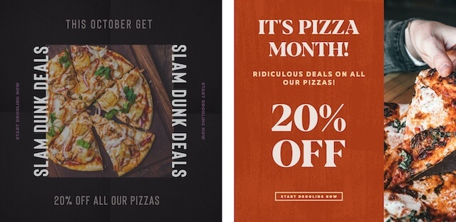 Pizza ads with promotions
