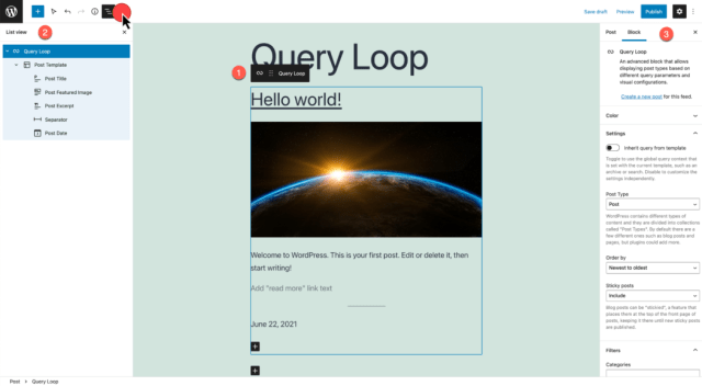 list view, query loop edit mode, and settings displayed