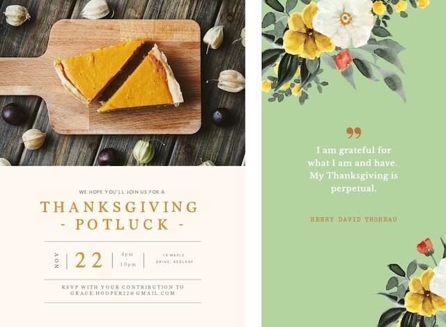 Thanksgiving ads showing pumpkin pie