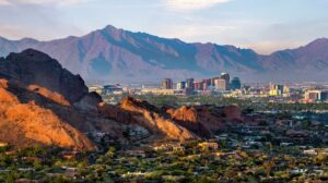 View of Phoenix with mountains