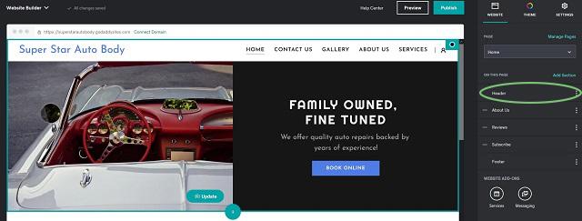 Websites + Marketing Header Editing Options