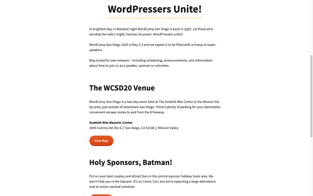 WordCamp San Diego 2020 schedule