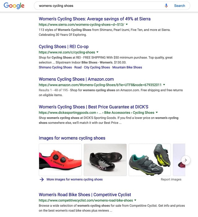 eCommerce SEO Womens Cycling Shoes Example