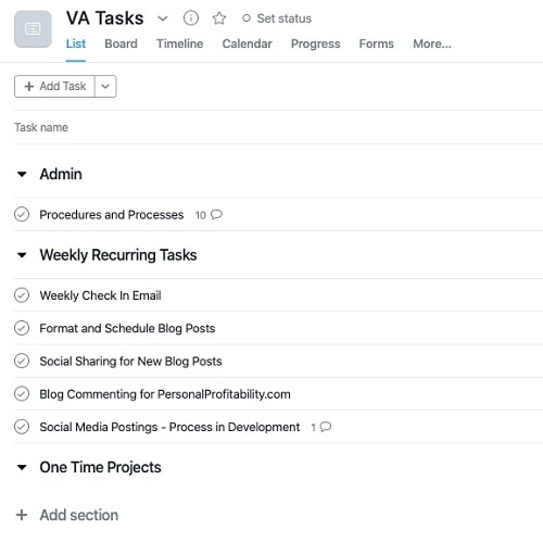 Task Management Software Asana List