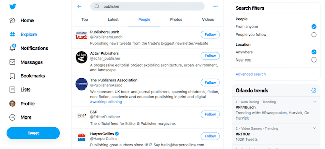 Twitter Publisher Search Results