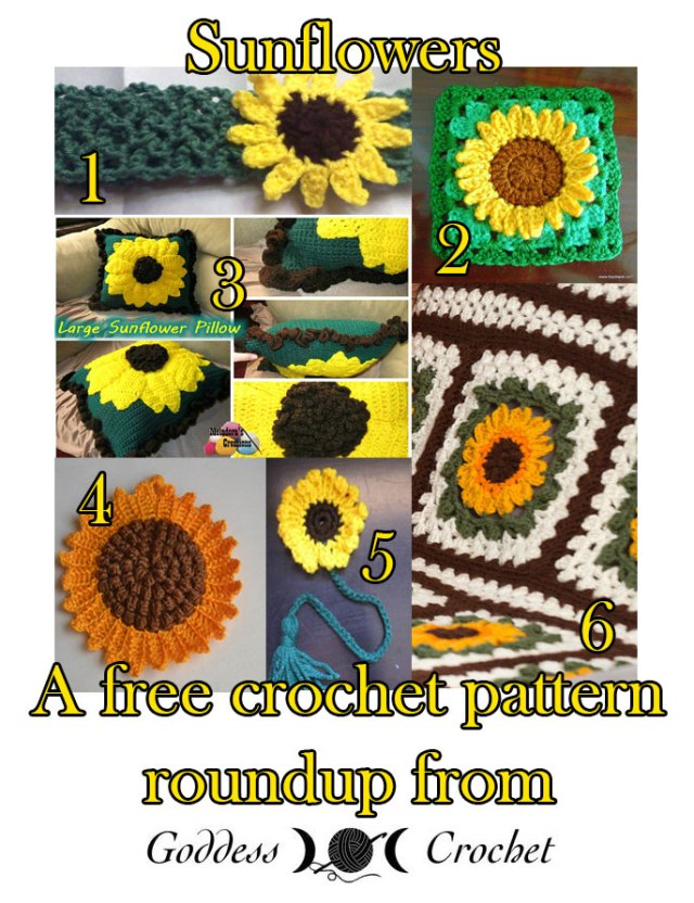 Free crochet patterns, sunflower crochet patterns