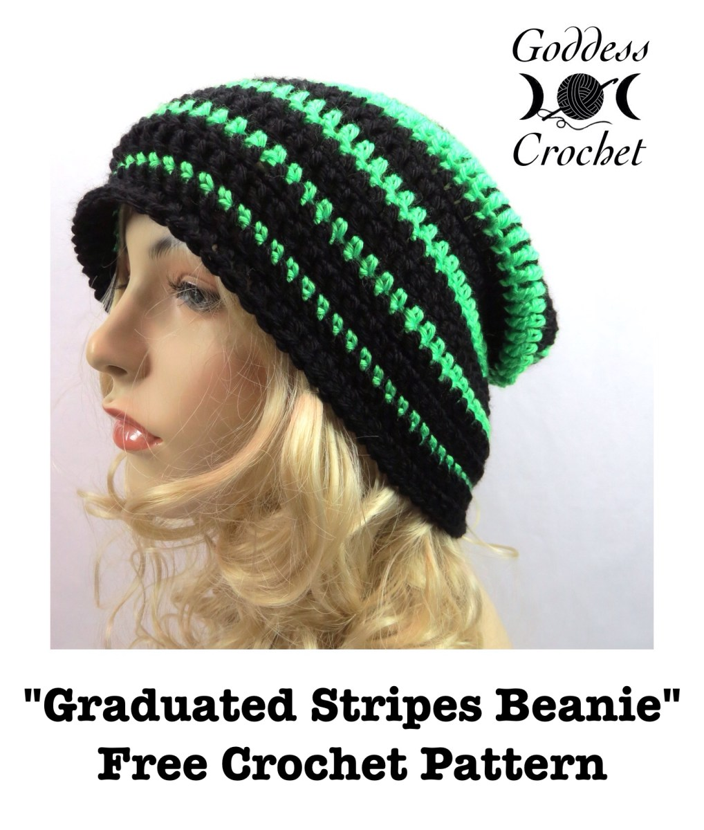 Free Crochet Pattern – Graduated Stripes Beanie – Goddess Crochet