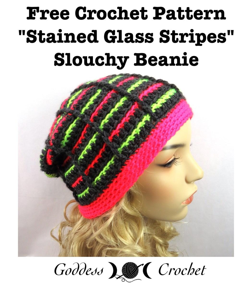 "Stained Glass Stripes"" Beanie – Free Crochet Pattern – Goddess Crochet"