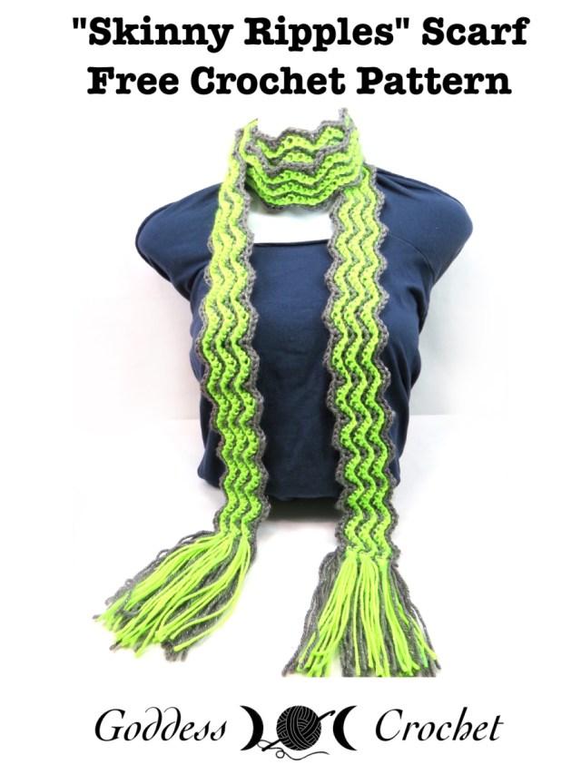 Skinny Ripples Scarf Free Crochet Pattern Goddess Crochet