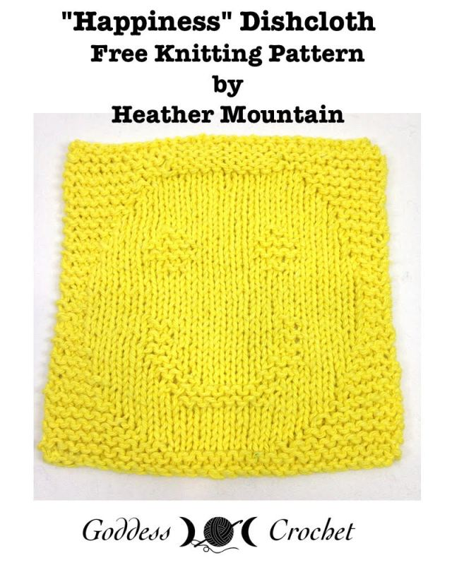 Smiley Face Dishcloth - Free Knitting Pattern