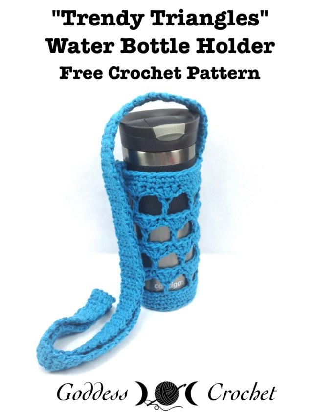 Trendy Triangles Water Bottle Holder Free Crochet Pattern
