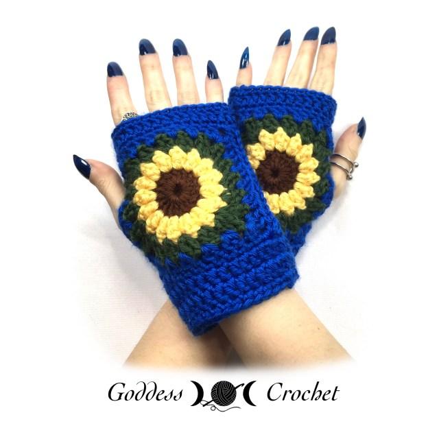 Sunflower Wrist Warmers - Goddess Crochet
