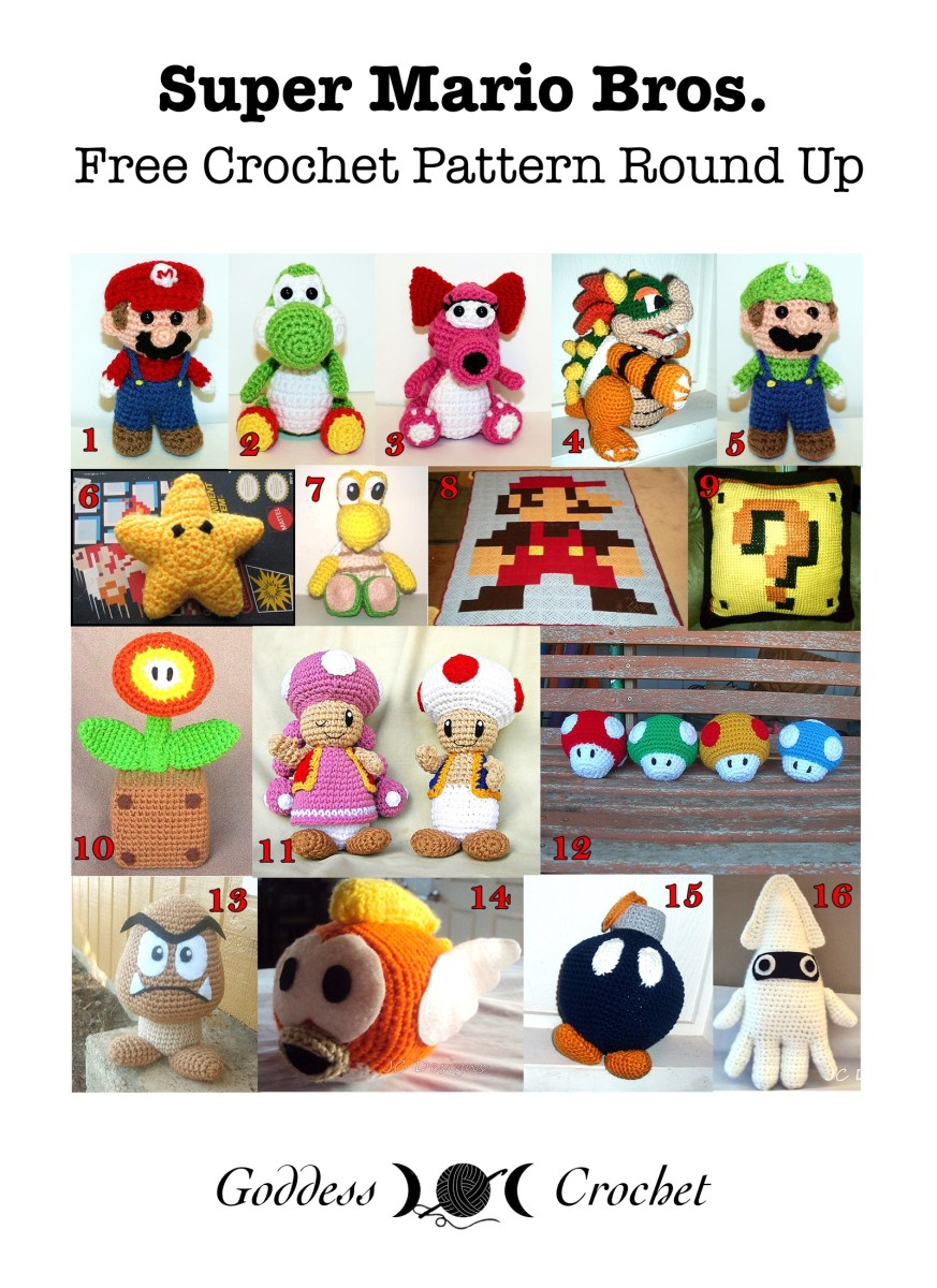 Super Mario Bros – Free Crochet Pattern Round Up – Goddess Crochet