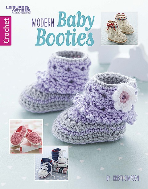 Modern Baby Booties - Crochet Pattern Book by Leisure Arts. Designs By Kristi Simpson.
