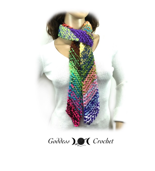 Knitting On The Bias Shawl Pattern : Scrappy bias scarf free knitting pattern goddess crochet