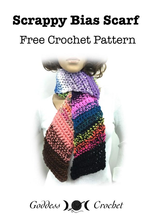 Scrappy Bias Scarf – Free Crochet Pattern – Goddess Crochet