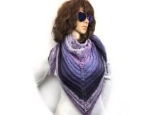 Purple Mountain Ridge Triangle Shawl - Free Knitting Pattern