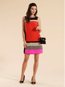 This lady -like Fontana Tunic price £75 ( average 95 Euro) from Monsoon ticks the right boxes for a colour block 60's look