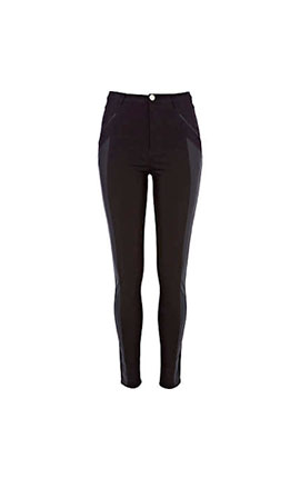 BLACK PU PANEL SKINNY TROUSERS, Euro 55 by River Island