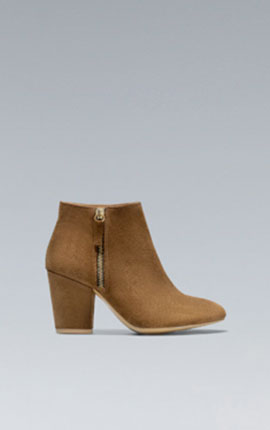 (5) A neutral block heeled boot is good with denims and adds versatility to your wardrobe. BASIC COWBOY ANKLE BOOT  In Leather  69.95 EUR at Zara