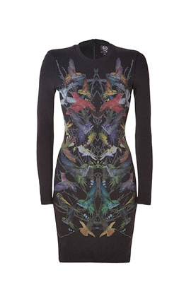 ALEXANDER MCQUEEN Black Hummingbird Print Sweatshirt Dress £285 at Stylebop.com