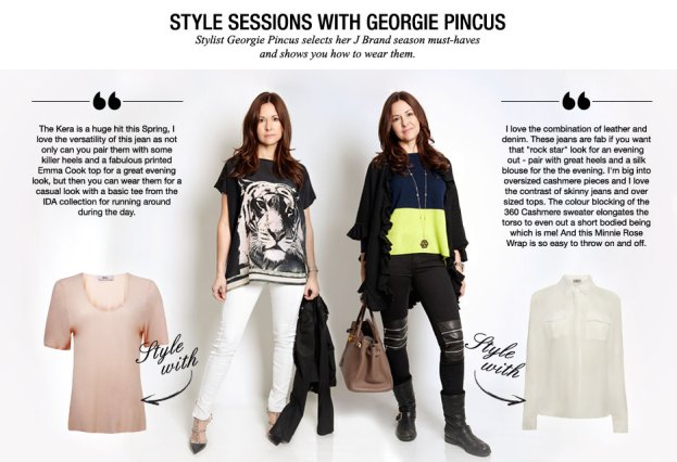 Georgie gives tips on mixing leather with denim, wearing an oversized t-shirt and colour blocking.