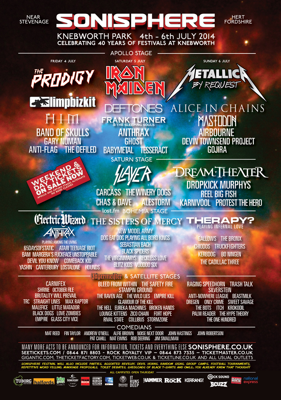 Sonisphere Preview: Prodigy, Maiden, Metallica, Chas n Dave and WWI Dog Fights
