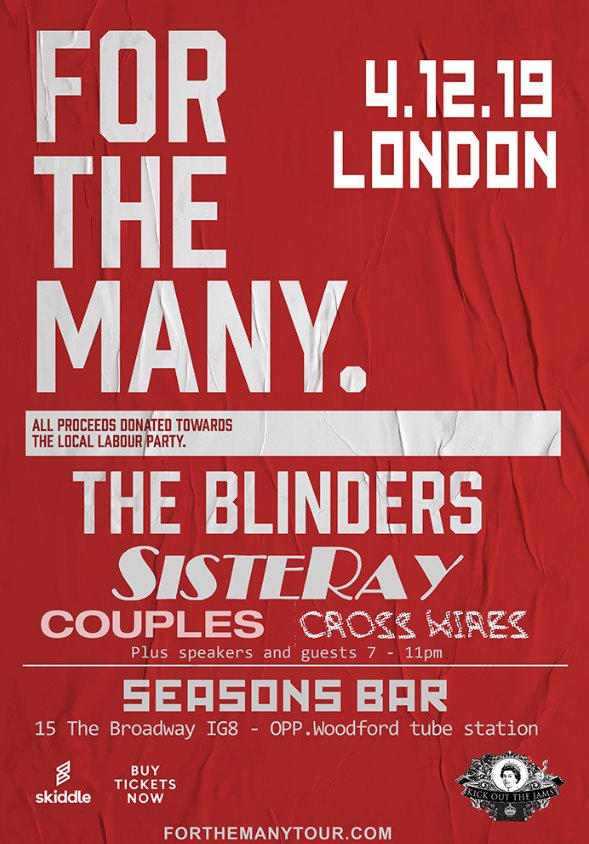 The Blinders/Sisteray – For The Many – Four Seasons, 04/12/2019