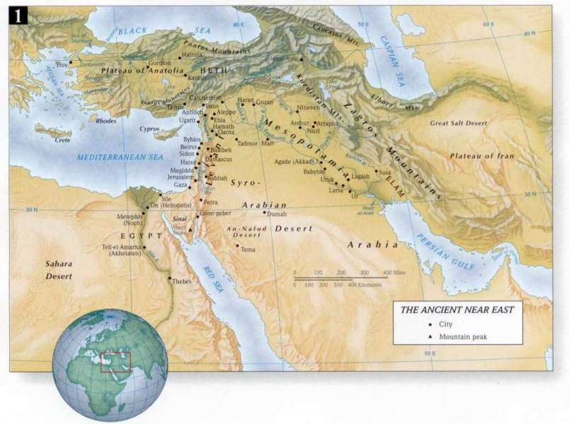 Ancient Near East Bible Map in Old Testament Holy Land