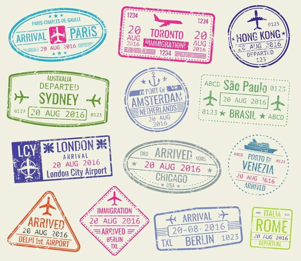 nternational travel visa passport stamps vector set. paris and toronto, hong kong and port of amsterdam illustration