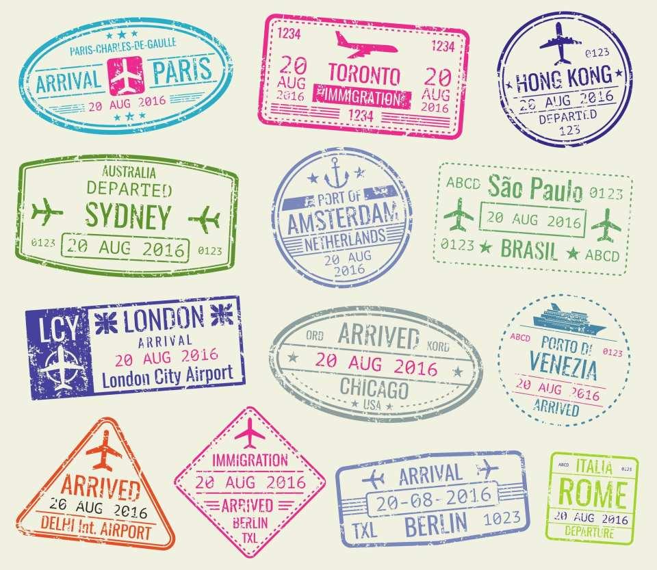 nternational travel visa passport stamps vector set. paris and toronto, hong kong and port of amsterdam illustration