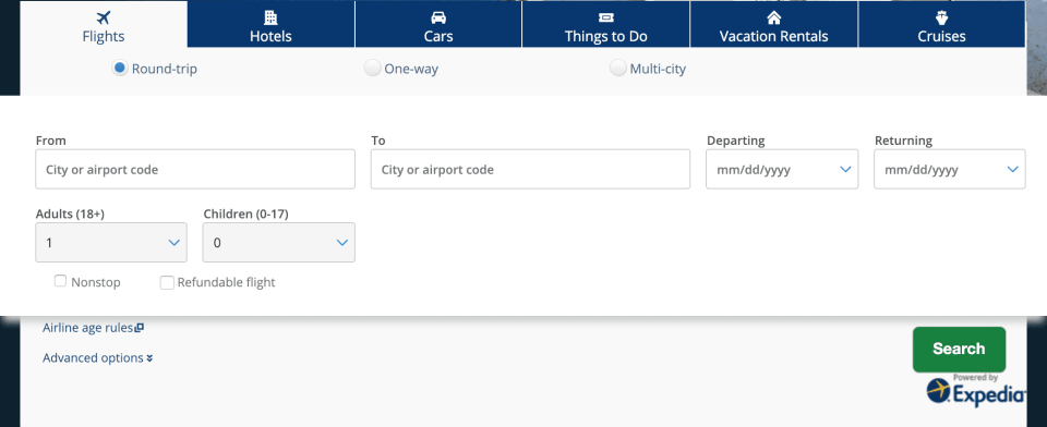 Chase Travel Portal Search