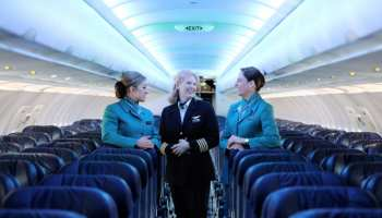 Pictured left to right: Aer Lingus Cabin crew member Grainne O'Callaghan, Captain Colette Evans and Cabin crew member Katie Quinn. Aer Lingus has today announced the introduction of a new customised mood lighting system to its fleet of aircraft. Aer Lingus has partnered with Cobalt Aerospace to deliver the best-in-class LED cabin lighting which features carefully-curated lighting settings to minimise the effects of jet-lag and to maximise the well-being of passengers through each phase of their flight.