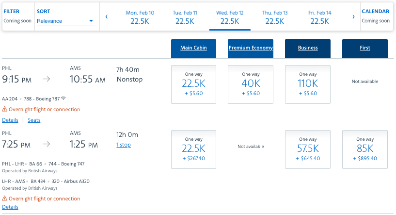 New American Airlines Award Search Results