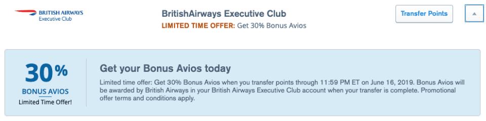 Ultimate Rewards Transfer Bonus To British Ariways