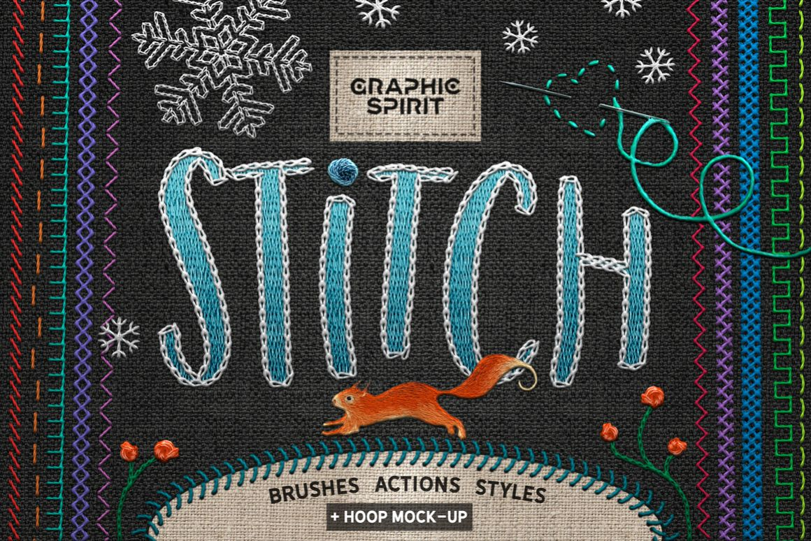 Ps STITCH: Brushes, Actions, Styles