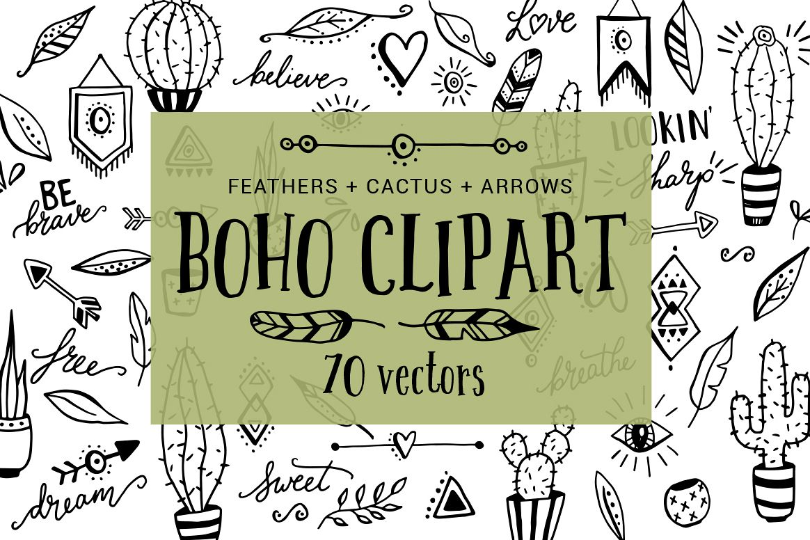 Boho, cactus, feather, arrow clipart doodles